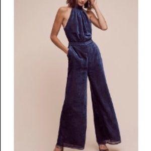 Anthropologie blue velvet jumpsuit